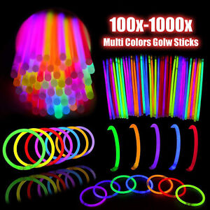 100-1000pcs Color Mixed Glow Sticks Party Glowsticks Bracelets Light No Flame AU