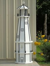 6' Octagon Electric and Solar Powered Poly Wood Lighthouse (White/ black trim)