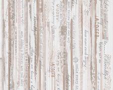 Papier Tapete AS DJOOZ 956741 Landhaus Streifen Texte Vintage Beige Braun Rosa