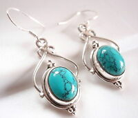 Turquoise Dangle Ellipse Cabochon 925 Sterling Silver Drop Earrings New