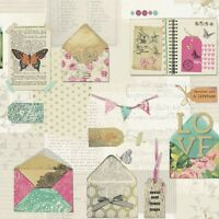 PS I LOVE YOU Wallpaper Butterflies Green Shabby Chic Patchwork Feature - 671200