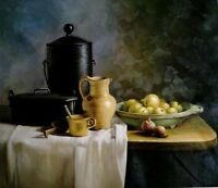 Dream-art Oil painting still life fruits and pot on table on canvas hand painted
