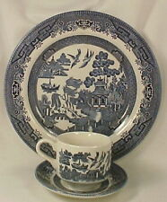 BLUE WILLOW PLATE CUP & SAUCER Churchill Staffordshire