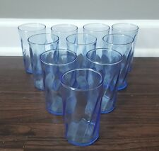 Vintage Light Blue Swirl Drinking Glasses Juice Tumbler Milk Cup Set of 10