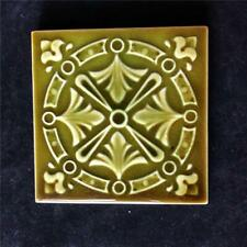 "Antique American Encaustic Victorian 4 1/4""  Square Green Pottery Tile Ohio"