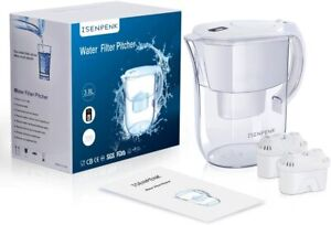 3.8L Water Filter Jug with 2 Free Universal Cartridges LCD Display Indication UK