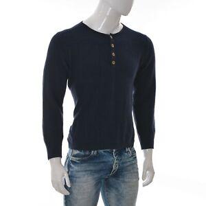 Marc O'Polo Denim Cotton Men's Quarter Button Henley Crew Neck Sweater M