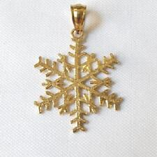 14k Yellow Gold SNOWFLAKE Pendant / Charm, Made in USA