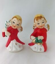 VINTAGE 1950s  CERAMIC ANGELS STARS ON GOWN FIGURINES CANDY CANE & BELLS JAPAN