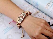 PACE Firmare Flower Power in Pelle Canapa Corda Braccialetto Surfista Braccialetto Bracciale con musica