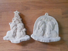 C-0946 A pair of two sided Seal Christmas ornaments Ceramic Bisque U Paint
