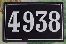 Large old black French house number 4938 door gate wall plate enamel metal sign