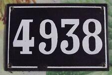 Large old black French house number 4938 door gate wall plate enamel metal...