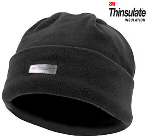 Mens Black Woolly Warm Knitted Beanie Hat Cap Ski Black Thinsulate Fleece Army