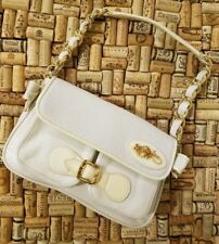 Betsey Johnson White Leather Lace Buckle Chain Bow Small Shoulder Bag Purse NWOT