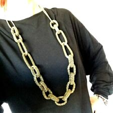 Gold Tone Chunky Rope Chain Link Style Statement Long Necklace Costume Jewellery