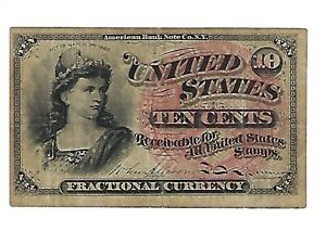 1863 10 Cent Fractional Currency 4th Issue Civil War Era Paper Money Fr 1258