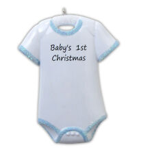 Blue BodySuit Newborn Baby Shirt Personalized Christmas Tree Ornament