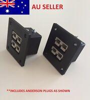 2 x 50 Amp Anderson Plug Flush Mount Double Plug Cover Black