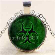 Green Biohazard Symbol Cabochon Glass Tibet Silver Chain Pendant Necklace