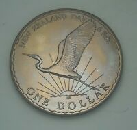 1974 NEW ZEALAND SILVER PROOF ONE DOLLAR BU UNC BEAUTIFUL COLOR TONED COIN