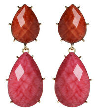 Amrita Singh Hampton Coral Fuschia Pink Resin Earrings ERC 834 NWT