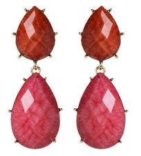 NWT Amrita Singh Real Housewives Hampton Coral Fuschia Resin Earrings ERC 834