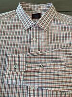NWOT UNTUCKit Slim Fit Wrinkle Free L/S Button Down Blue Red Shirt XL