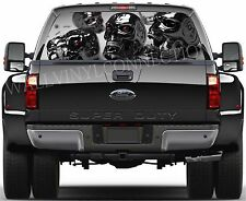 SKULL-Pick-Up Truck Perforated Rear Windows Graphic Decal, Window Graphic Decal