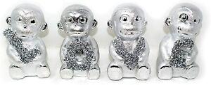 Crushed Crystal Diamond Bling Silver Love 4 Monkeys Ornament Shelf Figurine_UK