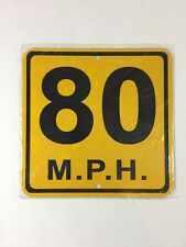 80 Mph Small Metal Caution Speed Limit Sign 6�x6� (New)