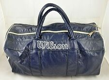 Vintage Wilson Blue Faux Leather Gym Bag - Waterproof Pocket - Made in USA