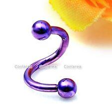 """1x Purple Stainless Steel 1/4"""" Flexo Twist Cartilage Nose Lip Ring Earrings Stud"""