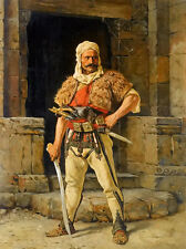 Oil painting paul joanovitch - a serbian warriors male portrait holding sword