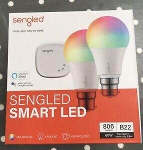 Sengled Colour Smart Lighting Kit. 2X B22 bulbs, hub, Ethernet cable and adapter