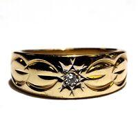 14k yellow gold .05ct VS1 G diamond band ring 4.7g estate vintage womens