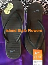 Women's NIKE SOLARSOFT THONG 2 Flip Flops Sandals 488161 090 Black Grey SIZE 10