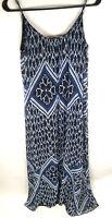 Express Womens Boho Maxi Chiffon Tribal Dress Long Sheer Blue Black Size S