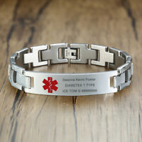 Silver Medical Alert ID Men Bracelet Custom Free Engraving Stainless Steel Chain