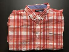 Nautica Mens Shirt Size XL Button Up Short Sleeve Red White Check