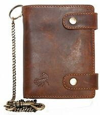 Mens Genuine Leather Bikers Wallet with Metal Chain to Hang with Scorpion