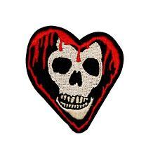 Bleeding Heart Skull Biker Embroidered Iron On Badge Applique Patch FD