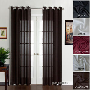 NEW Luxury FAUX LINEN Curtains EYELET Top Drapery 280 x 213 230cm PAIR