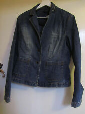 Faded Blue Stretch Denim Embroidered Antoni & Alison Jacket in Size 12