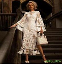 2019 Flower hollow tight waist white chiffon lace dress tassels runway dress