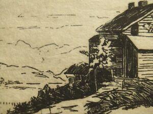 Antique landscape drypoint etching, pencil signed; J.S.