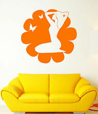 Vinyl Wall Decal Beautiful Flower Butterfly Girl Yoga Spa Center Stickers 1524ig