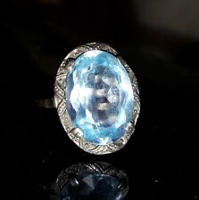Aquamarin Ring Antik Jugendstil Gr. 55