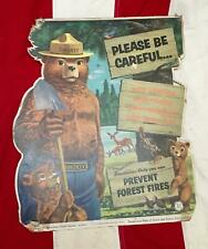 Vintage 1955 Smokey The Bear Advertising Sign Litho Cardboard Forest Service PA.