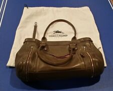Vintage Longchamp Grey Gray Rodeo Luxe Purse Shoulder Satchel Travel Bag LEATHER